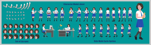 High school girl student character design model sheet with walk cycle animation. girl character design. front, side, back view and explainer animation poses. character set and lip sync