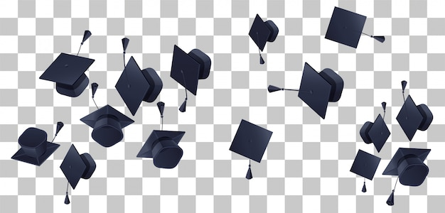 High school graduation fly up on transparent background
