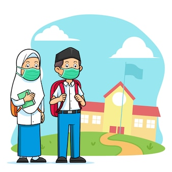 High school islamic student character wearing face mask