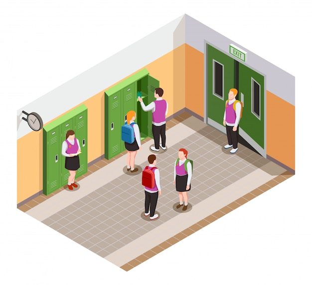 High school isometric people composition with human characters of students in hallway during time of break illustration