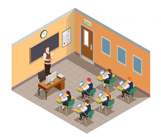 Изометрическая композиция для старшеклассников с изображением учеников и учителя в классной комнате с мебелью