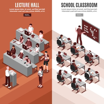 High school isometric vertical banners