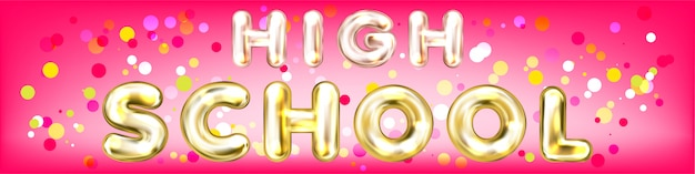 High school pink panorama banner