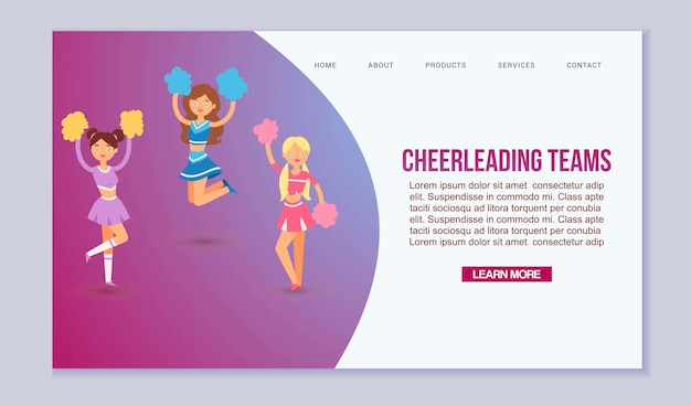 High-school profession cheerleading teams template for web page