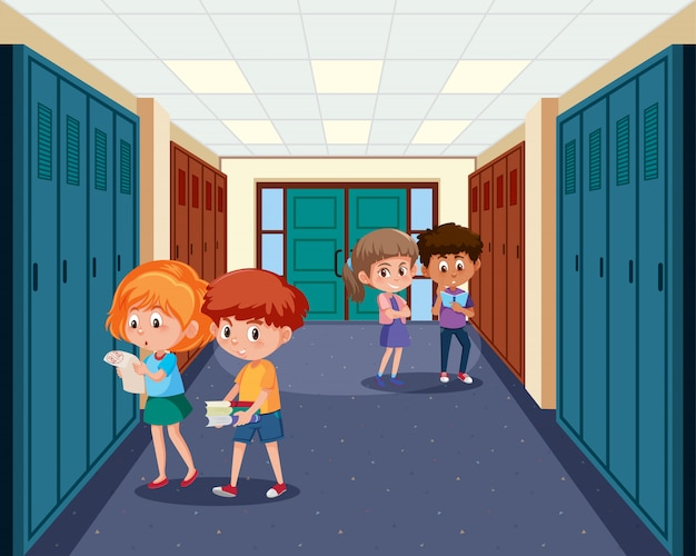 High school student at hallway