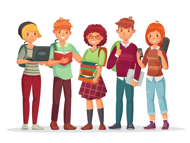 High school students group. teenagers with school backpack cartoon characters