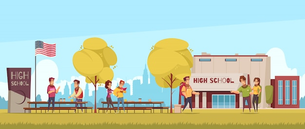 High school territory with educational building students during communication on blue sky background cartoon