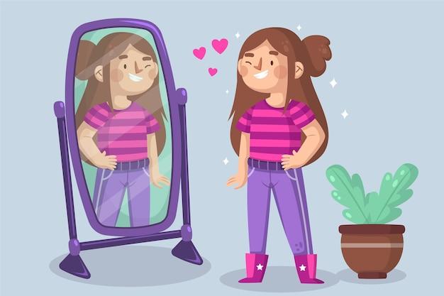 Illustrazione di alta autostima con specchio e donna