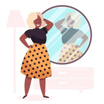 Иллюстрация высокой самооценки с женщиной и зеркалом