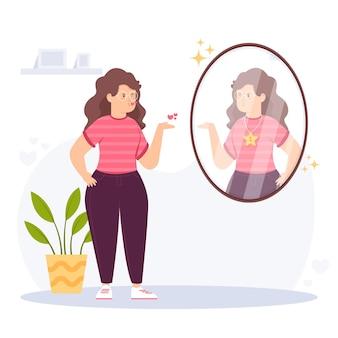 女性と鏡の高い自尊心のイラスト