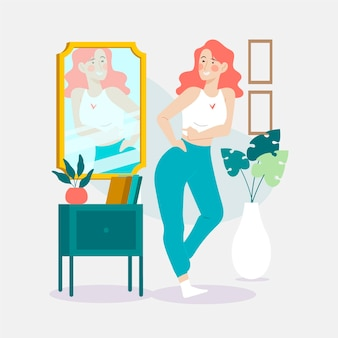 High self-esteem illustration with woman and mirror