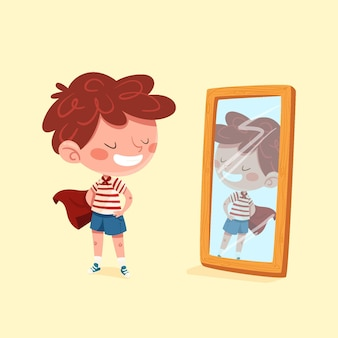 High self-esteem with person and mirror