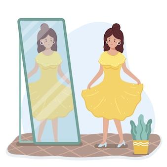 Alta autostima con donna e specchio