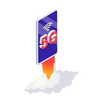 ロケットの3dベクトル図のように起動するスマートフォンと高速5gインターネットの概念