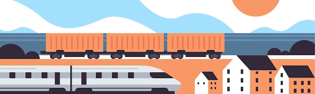 High speed and freight trains railway product goods shipping express delivery service concept