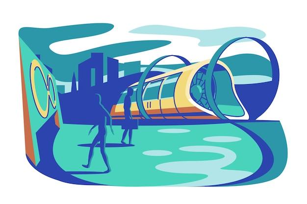 Высокоскоростной футуристический поезд векторная иллюстрация hyperloop будущего экспресс-транспорта с пассажирами модная идея концепция транспортных технологий