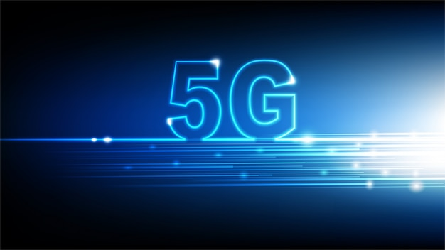 High speed internet 5g technology with blue abstract futuristic background, illustration