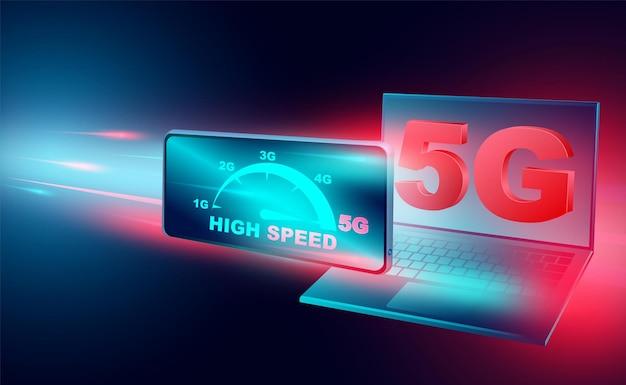スマートフォンとコンピューターのブロードバンドネットワーク上の高速インターネットコンセプトネットワークは等尺性の速度