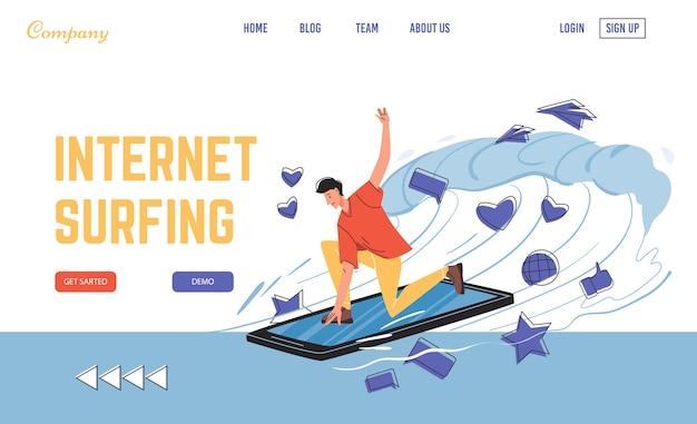 携帯電話を介した高速インターネットサーフィン。サーフボードとしてスマートフォンでデジタル情報の波をキャッチする男のキャラクター。高速オンライン接続とプロバイダーサービス。ランディングページのデザイン