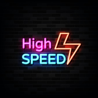High speed neon signs vector. design template neon style