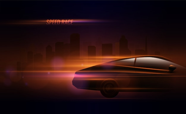 High speed race hatchback car trailing lights motion effect realistic composition in night city street