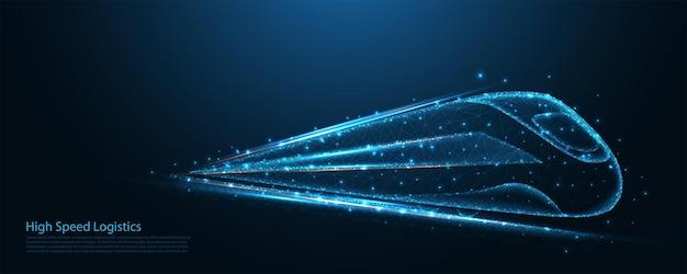 高速列車のポリワイヤーフレーム。鉄道ロジスティクス、輸送、観光、および技術の概念。接続。低ポリワイヤーフレームデザイン。抽象的な幾何学的な背景。ベクトルイラスト。
