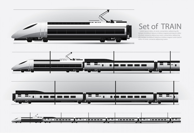 High speed train on a rail road vector illustration