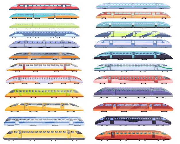 Набор иконок высокоскоростной транспорт. мультфильм набор векторных иконок высокоскоростного транспорта для веб-дизайна