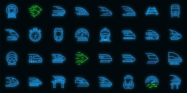 Набор иконок высокоскоростной транспорт вектор неон