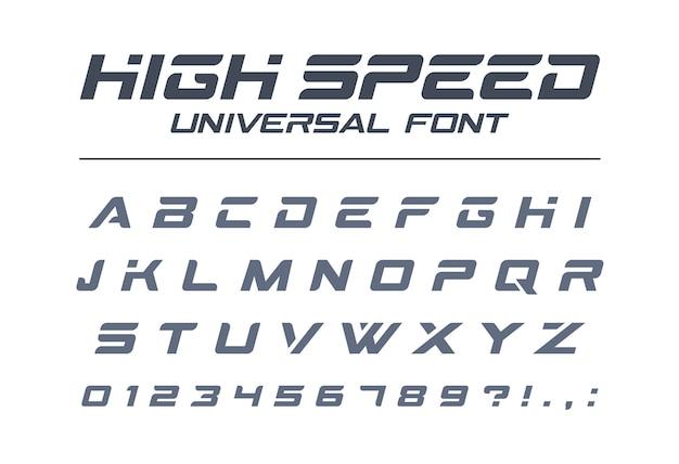 고속 범용 글꼴. 빠른 스포츠, 미래, 기술, 미래 알파벳. 군사, 산업, 전기 자동차 경주 로고 문자와 숫자. 현대적인 미니멀리즘 서체