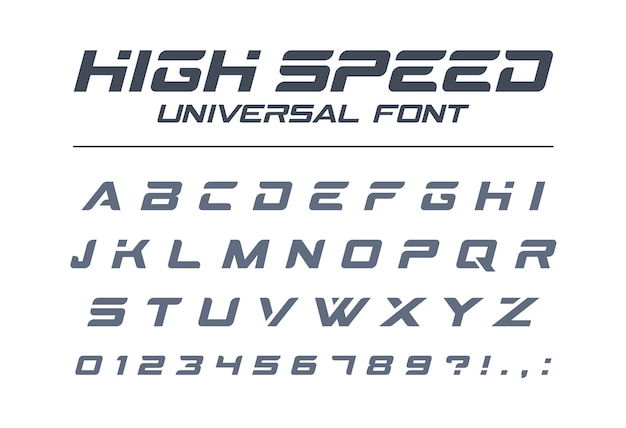 High speed universal font. fast sport, futuristic, technology, future alphabet. letters and numbers for military, industrial, electric car racing logo . modern minimalistic  typeface