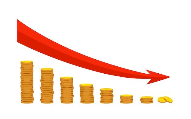 Высокие стеки золотых монет мультяшный набор. банковская инвестиционная тема. падение роста