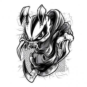 High sting! black and white illustration