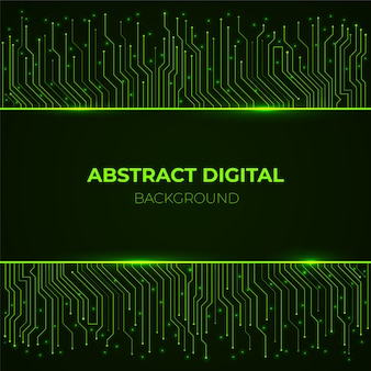 High-tech background from computer green glowing neon circuit board lines