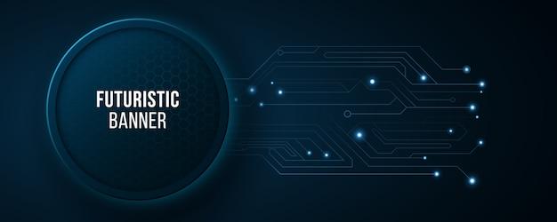 コンピューター回路とハイテクバナー。現代のハイテクデザイン。青い光るネオンハニカム。抽象的な白熱灯。