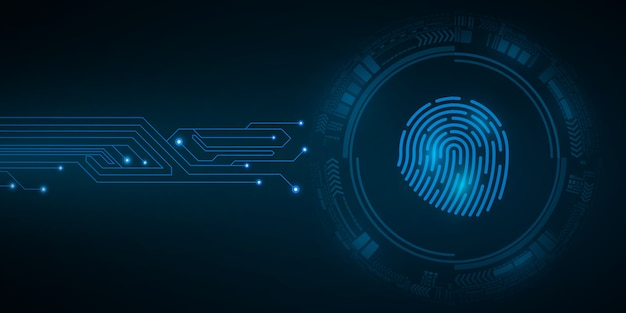 Hudインターフェース要素を備えたコンピューターシステムのセキュリティのためのハイテク指紋。南京錠をスキャンします。コンピューター回路基板。抽象的な青いサイバーサークル。