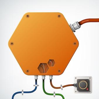 Scatola industriale high-tech come un esagono di oggetto di colore arancione con diversi fili tecnici realistici sul grigio isolato