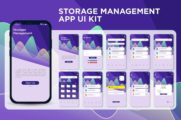 Высокотехнологичный современный пользовательский интерфейс приложения для управления хранением