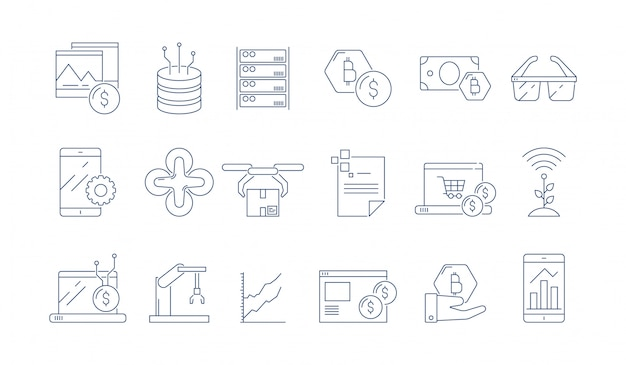 High tech technology icon. modern business software headset advanced engineering augmented reality  thin outline symbols