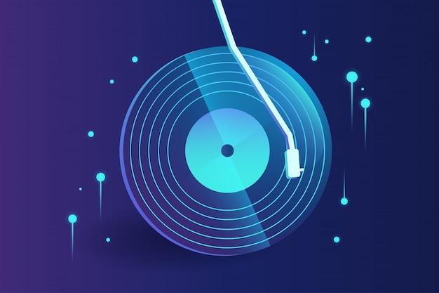 グラデーションのあるハイテクビニールレコードの音楽の要約