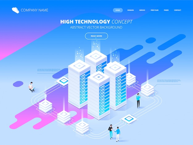 High technology concept. big data flow processing. isometric illustration