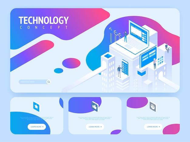 Концепция высоких технологий. шаблон целевой страницы. заголовок для сайта. высокая подробная изометрическая иллюстрация