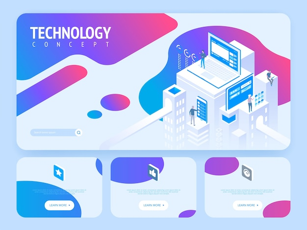 High technology concept. landing page template. header for website. high detailed isometric  illustration