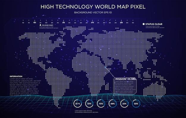 High technology digital map interface background