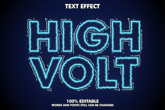 High volt text effect, electric font effect