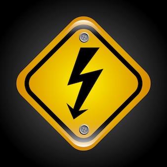 High voltage over black background vector illustration