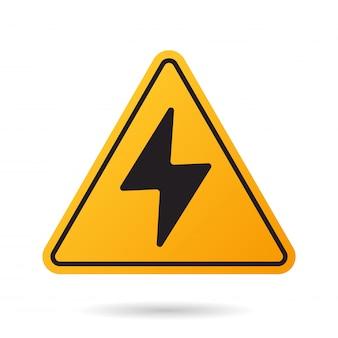 High voltage. bolt warning triangular yellow sign.