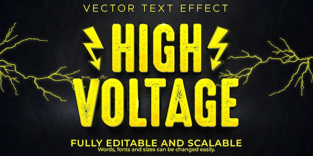 High voltage electric text effect, editable power and danger text style