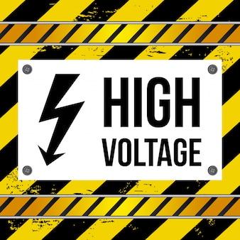 High voltage over lines background vector illustration