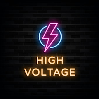 High voltage neon signs design template neon style